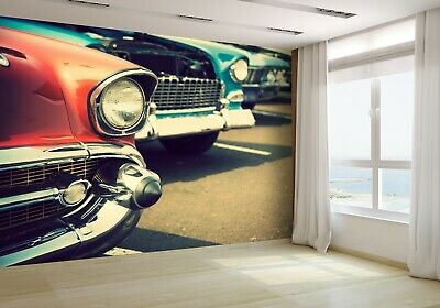 Classic Cars in a Row Wallpaper Mural Photo 52543642 budget paper