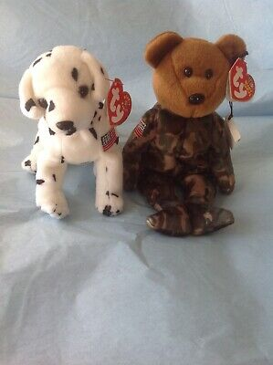 TY BEANIE BABY Rescue and Hero, NWT, military dog and bear