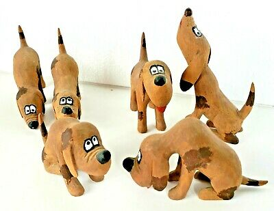 6 Older Hand Carved WOOD Hound Dogs FOLK ART ADORABLE & Beautifully Done