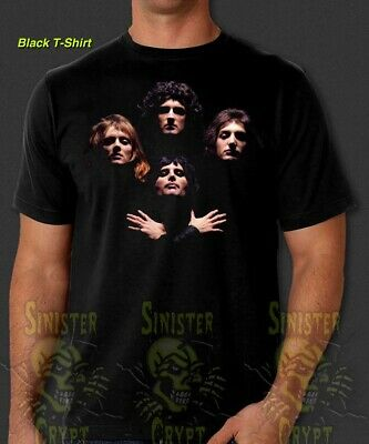Queen Rock Band Bohemian Rhapsody Freddie Mercury Retro Vintage Black T-Shirt