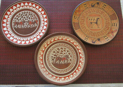 3 Small Greek Terra Cotta Wall Plates Hand Painted in Ancient Corinth