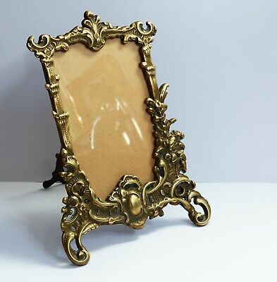 Wonderful Ornate Vintage Solid Brass Freestanding Picture / Photo Frame + Glass