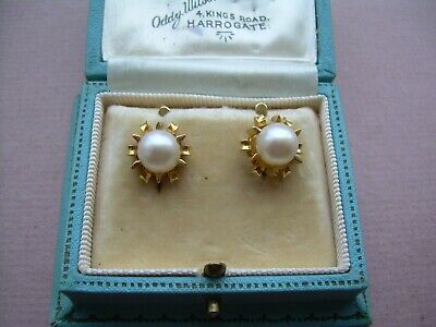 Antique Art Deco Heavy 18ct Gold French Large Cultured Pearl Earrings (8mm)