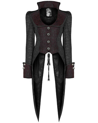 Punk Rave Womens Gothic Tailcoat Jacket Black Red Steampunk Pirate Dovetail Coat