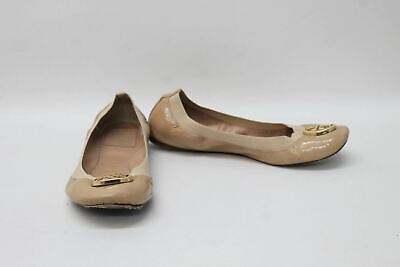 TORY BURCH Nude Beige Caroline Elastic Flat Ballerinas Shoes Size US8 UK6