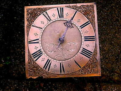 C1740 30HR LONGCASE GRANDFATHER CLOCK DIAL+movement 10X10  THOMAS JENNINGS, FRIT