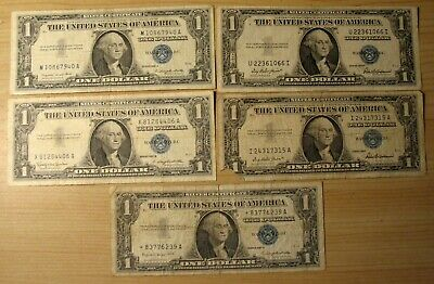 Ten (10) One Dollar $1 US Silver Certificates 1935 & 1957 - one 1957 is star