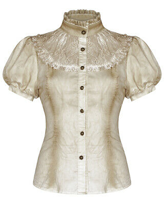 Punk Rave Womens Steampunk Blouse Top Off White Lace VTG Victorian Gothic Shirt