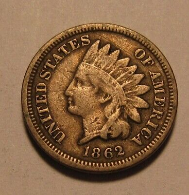 1862 Indian Head Cent Penny - Fine to Very Fine Condition - 38SU