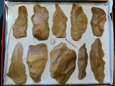 40.000Y.O:10 ARTIFACTS 140mms NEANDERTHAL FLINT STONE AGE PALEOLITHIC MOUSTERIAN