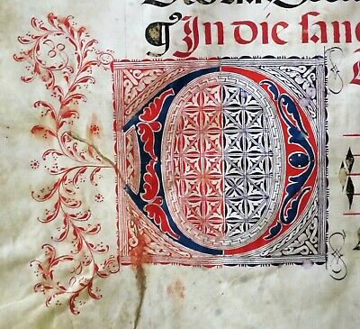 Lg.flawed Music Manuscript,Antiphonary Lf, on Vellum,handptd.Initials,c.1500