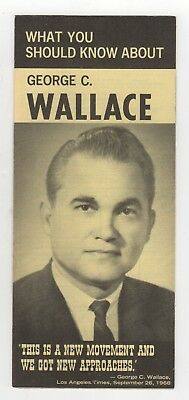 1968 GEORGE WALLACE President POLITICAL Brochure ALABAMA Governor FLYER Campaign