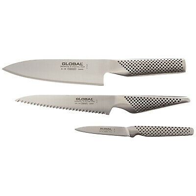 Global 3 Piece Kitchen Knife Set, 6-Inch Chef's, 6-Inch Utility, 3-Inch Paring