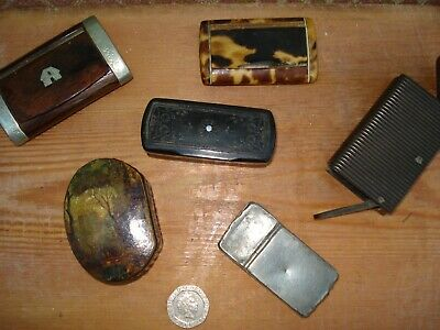 job lot of 6 antique snuff boxes and vesta cases ,paper mashe , wood etc