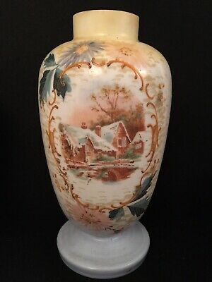 Antique Victorian Milk Glass Opaque Large Vase Hand Painted Bristol/ Stourbridge