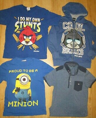 Boy S Clothes Bundle Angry Birds Hooded Top ,t Shirts ,minion , Age 9/10 Years
