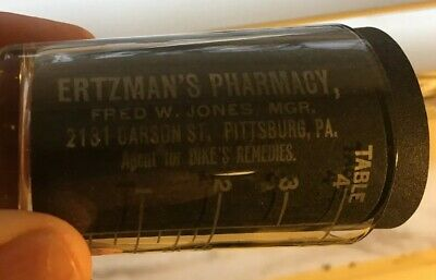 Antique Etched Ertzman's Pharmacy Medicine Dose Cup 2131 Carson St Pittsburgh
