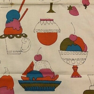 "TOTALLY 1970's Mod POP ART ""ICE CREAM SHOP"" Groovy MODERN Retro Fabric Panel!"