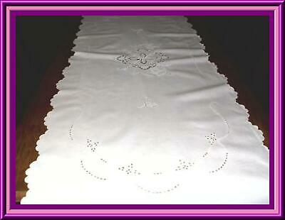 Lovely Antique Madeira Embroidered Table Or Piano Runner With Cutwork - 68X27