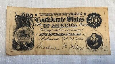 COPY of 1864 $500 Dollar Bill Confederate States Of America Currency Note CSA