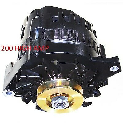 BLACK ONE 1 WIRE ALTERNATOR *200 AMPS* HI OUTPUT FOR CHEVROLET GM  El Camino