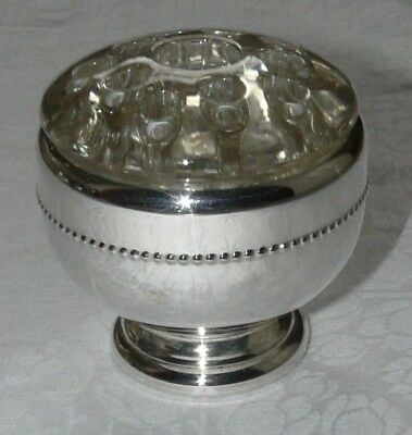 Silver Plated Vase + Glass Rose Viking Plate Made in Canada  9cm Diam