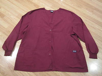 Cherokee Workwear Womens Scrub Top Size L Large Long Sleeve Button Up Shirt Coat