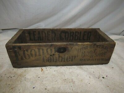 """VINTAGE ECONOMY COBBLER FOR BOOT & SHOE REPAIRS BOX ADVERTISING WOOD 15""""x 6""""x 4"""""""