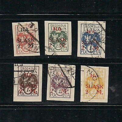CENTRAL LITHUANIA: [#B1 --> #B6] White Eagle / White Knight Vytis stamps – used-