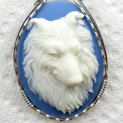 Collie Dog Cameo Pendant .925 Sterling Silver Animal Jewelry Blue Resin