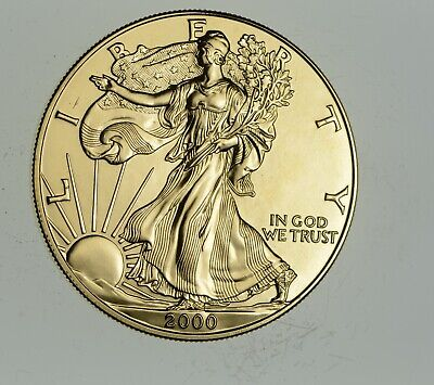 2000 24 Kt Gold Plated American Silver Eagle - Beautiful Coin! 1 Oz .999 *885