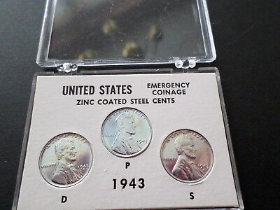 1943-P-D-S Lincoln Steel Wheat Cent-- Year Set