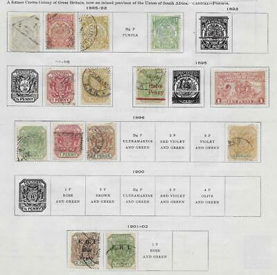 14 Transvaal Stamps from Quality Old Album 1885-1902