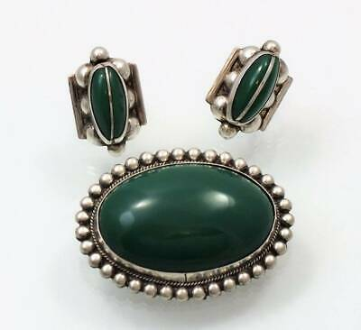 Vtg Mexico Sterling Green Cabachon Beaded Brooch Pin & Earrings Silver