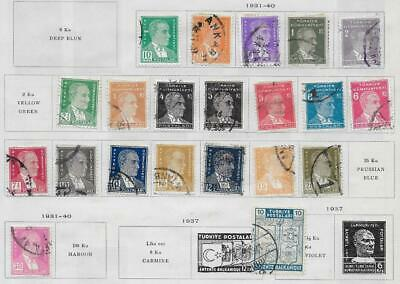 25 Turkey Stamps from Quality Old Album 1929-1940