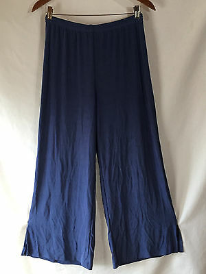 Chico's Travelers Blue Pants Short Slinky Acetate Stretch Knit Size 1 Small Med