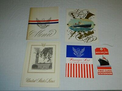 Lot of SS United States Lines Ocean Liner Items~Menus Passenger List BaggageTag