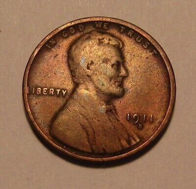 1911 S Lincoln Cent Penny - Fine Condition / Cleaned - 5FR
