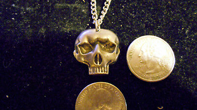 bling pewter myth legend goth biker skull fashion pendant charm necklace jewelry