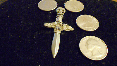 bling pewter celt goth eagle skull dagger pendant charm leather necklace jewelry