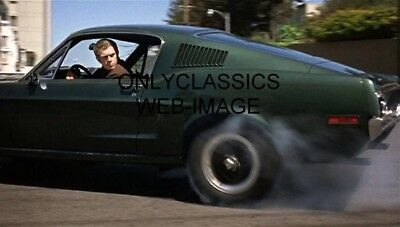 1968 STEVE McQUEEN FORD MUSTANG BURNOUT PHOTO BULLITT AUTOMOBILIA WILD CAR CHASE