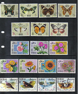 18 Nice Older Used Dubai Butterfly Flowers And Birds Stamps Short Sets 1968