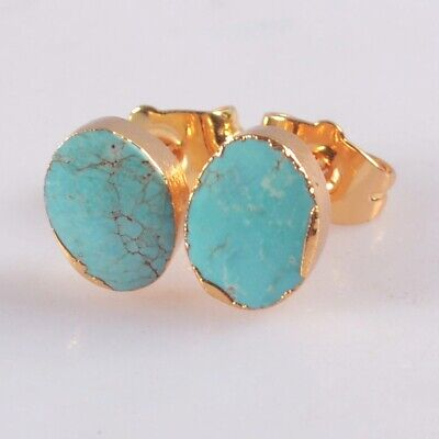 Natural Genuine Turquoise Stud Earrings Gold Plated B078017