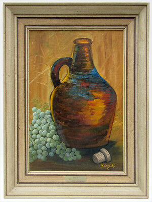 1950 Signed Adry.n Still Life Oil Painting Post-War Mid-Century Modern Eames Era