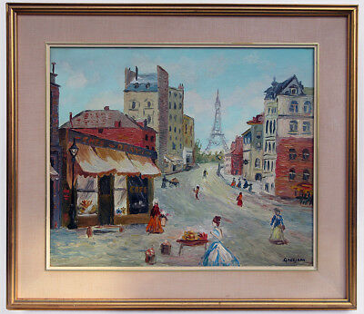 1960 Signed Grosjean Old Paris France Cityscape Abstract Oil Painting Eames Era