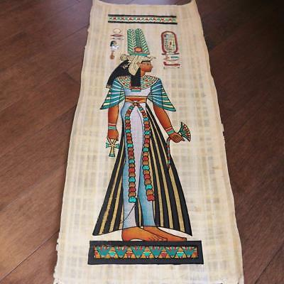"""Huge Signed Handmade Papyrus Egyptian Queen_CLEOPATRA_32x12"""" Inches"""