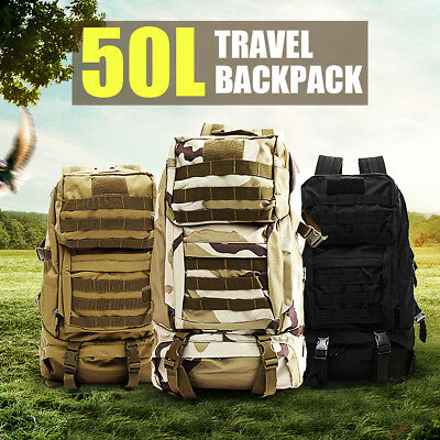 50L Canvas Camouflage Military Hiking Rucksack  Backpack Bag Waterproof Camping