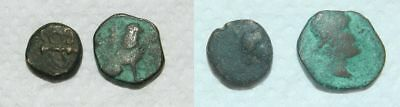 2 X Ancient Greek Bronze Coins - For Study / Id
