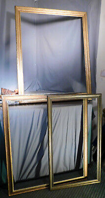 3 BIG Antique Arts Crafts Bronze Gilt DISTRESSED Picture Frames 21x40 to 33x43