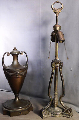 2 Antique Neo Classical Pairpoint Art Glass lamp Base Bronze White Metal AS IS